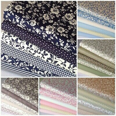 £10.40 • Buy 100% Cotton Fabric Fat Quarter Bundle Quilting Patchwork Craft Floral Flowers AA