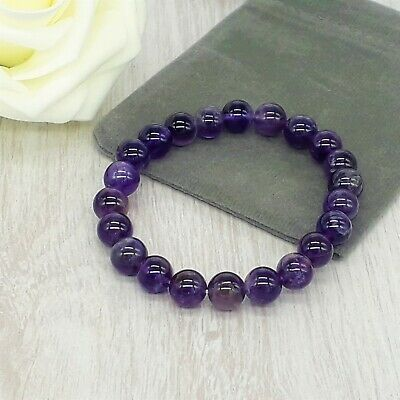 Handmade Natural Amethyst Gemstone Stretch Bracelet & Velvet Pouch. 4/6/8mm. • 4.99£