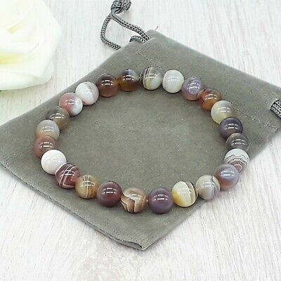 Handmade Natural Botswana Agate Gemstone Stretch Bracelet & Velvet Pouch 4/6/8mm • 4.49£