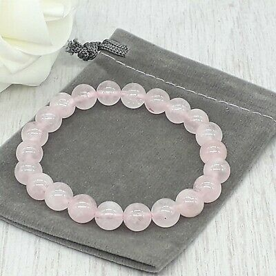 Handmade Natural Rose Quartz Gemstone Stretch Bracelet & Velvet Pouch. 4/6/8mm. • 2.59£