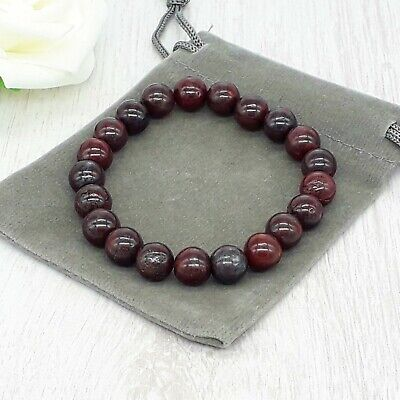 Handmade Natural Bloodstone Gemstone Stretch Bracelet & Velvet Pouch. 4/6/8mm. • 4.79£