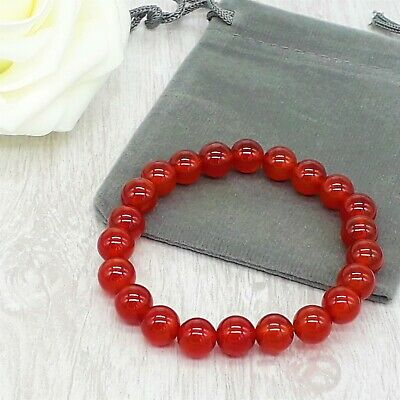 Handmade Natural Red Carnelian Gemstone Stretch Bracelet & Velvet Pouch. 4/6/8mm • 4.79£