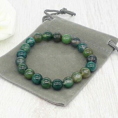 Handmade Natural Moss Agate Gemstone Stretch Bracelet & Velvet Pouch. 4/6/8mm. • 4.99£