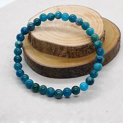 Handmade Natural Blue Apatite Gemstone Stretch Bracelet & Velvet Pouch. • 5.99£