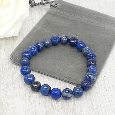 Handmade Natural Lapis Lazuli Gemstone Stretch Bracelet & Velvet Pouch. 4/6/8mm. • 4.49£
