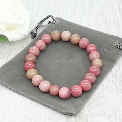 Handmade Natural Rhodochrosite Gemstone Stretch Bracelet & Velvet Pouch. 4/6/8mm • 4.79£