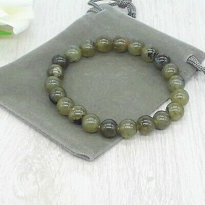 Handmade Natural Labradorite Gemstone Stretch Bracelet & Velvet Pouch. 4/6/8mm • 4.99£