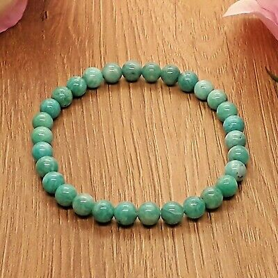 Handmade Natural Brazil Amazonite Gemstone Stretch Bracelet & Velvet Pouch. • 5.99£
