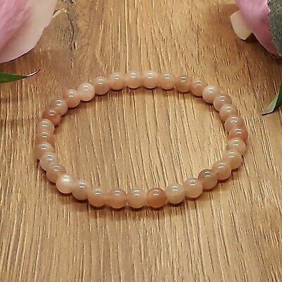 Handmade Natural Peach Sunstone Gemstone Stretch Bracelet & Velvet Pouch. • 5.49£