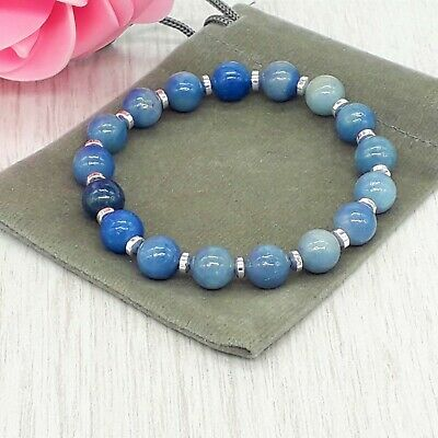 Handmade Natural Blue Aventurine Gemstone Stretch Bracelet & Velvet Pouch. • 4.49£
