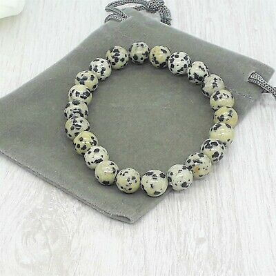 Handmade Natural Dalmation Jasper Gemstone Stretch Bracelet & Velvet Pouch. • 4.99£