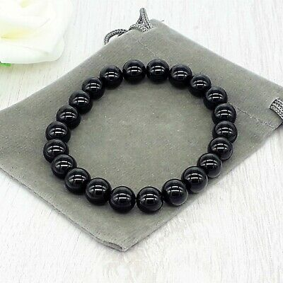 Handmade Natural Obsidian Gemstone Stretch Bracelet & Velvet Pouch. 4/6/8mm. • 4.49£