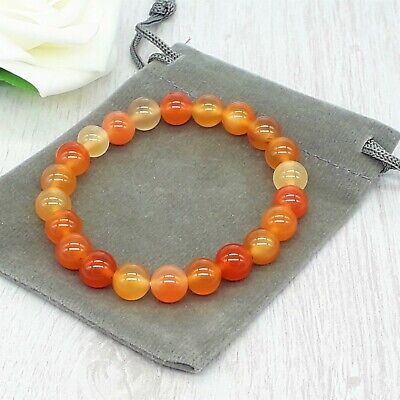 Handmade Natural Carnelian Gemstone Stretch Bracelet & Velvet Pouch. 4/6/8mm. • 4.49£