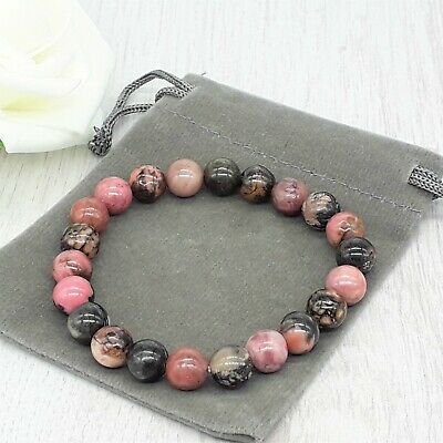 Handmade Natural Rhodonite Gemstone Stretch Bracelet & Velvet Pouch. 4/6/8mm. • 4.49£