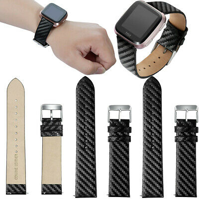 $ CDN25.57 • Buy For Fitbit Versa Lite 2 Carbon Fiber Genuine Leather Watch Band Strap Black AU
