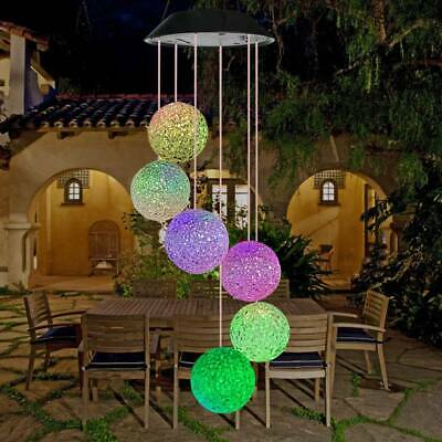 Colour Changing Hanging Wind Chimes Solar Powered LED Ball Lights Garden Outdoor • 12.59£