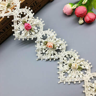 Vintage style Hearts and flowers ribbon trim 1cm x 3m