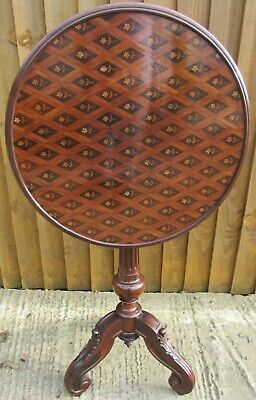 A Fine 19th Century Rosewood & Marquetry Tilt-top Wine Occasional Table • 995£