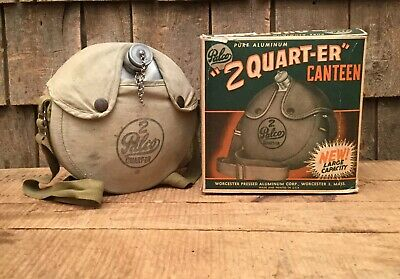 $ CDN93.87 • Buy Vintage PALCO 2 'Quart-er' Aluminum Canteen With Canvas With Cover Strap & Box