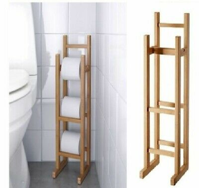 £12.98 • Buy Bamboo Wooden Free Standing Toilet Roll Storage Holder Stand Classic Finish