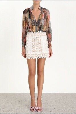 $206.66 • Buy Zimmermann Moncur Studded Mini Skirt| White/Nude, Linen/Cotton, Cocktail $800 RP