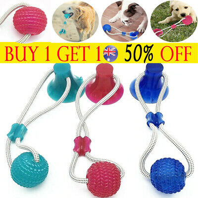 AU16.37 • Buy Pet Rubber Ball Toy With Suction Cup Dog Self-playing Durable Molar Chew Toys TH