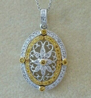 $490 • Buy 18K White Gold White And Fancy Yellow Diamond Filigree Pendant Necklace 18  Long