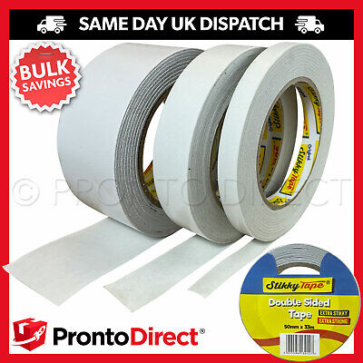 £5.99 • Buy Double Sided Tape Clear Sticky DIY Strong Craft Adhesive 12mm 25mm 50mm 33M REEL