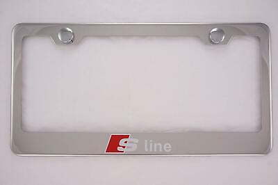 $11.99 • Buy Silver Fit Audi S Line Chrome License Plate Frame Cover W/ Cap Stainless Steel
