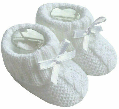 Newborn Baby Booties Knitted Cable Bow Spanish Romany White Boy Girl  Soft Touch • 3.25£