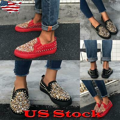 Women Rivet Round Toe Flat Shoes Ladies Sequins Slip On Loafers Casual Party US • 15.99$