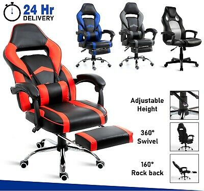£79.99 • Buy Executive Racing Gaming Computer Office Chair Footrest Swivel Recliner Leather