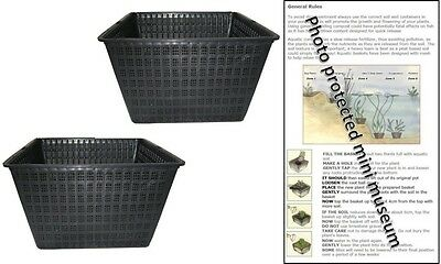2 X 28cm Square Plastic Aquatic Pots Baskets For Water Plants And Pond & Guide  • 8.95£