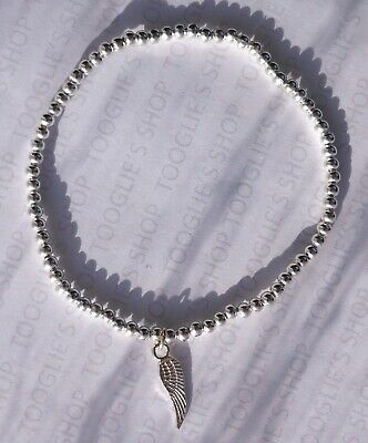 Handmade Silver Plated Stacking Stretch Bead Bracelet Angel Wing Charm (001) • 2.79£