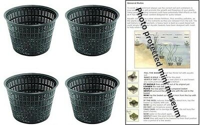 4 X 13cm Round Plastic Aquatic Pots Baskets For Water Plants And Pond & Guide  • 8.40£