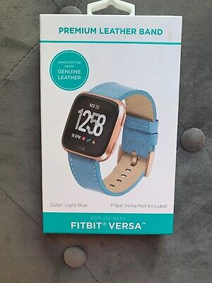 $ CDN20.16 • Buy Fitbit Versa StrapTop Grain Leather Replacement Light Blue Band