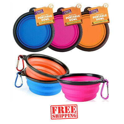 Pet Dog Cat Travel Collapsible Portable Feeding Bowl Water Dish Silicone Camping • 3.65£