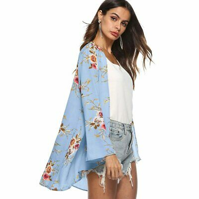 AU17.08 • Buy Plus Size Women Holiday Floral Kimono Cardigan Ladies Summer Tops Blouse