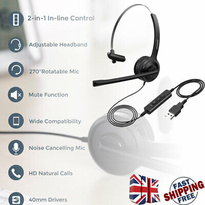 Mpow 2-in-1 USB/3.5mm PC Headset Wired Headphone With Mic For Call Center Skype • 17.49£