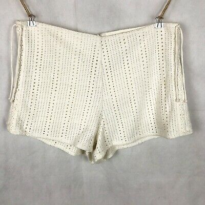 ZARA Cream White Crochet Knit High Waist Lace Up Sides Shorts Size M • 18£