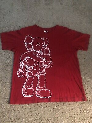 $49.99 • Buy Kaws X Uniqlo Clean Slate Companion T-Shirt Size XL Red 2016 Lightly Used