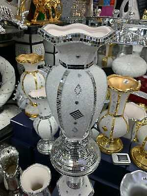 Big White/silver Mirrored Sparkle Vase, Lovely Spectacular Display Approx 40cm.. • 35.99£