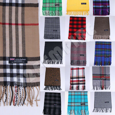 $6.99 • Buy 100% CASHMERE Plaid Scarves Warm Solid Plain Winter Check Scarf