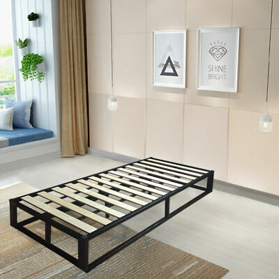 Black Metal Low Modern Bed - Loft Bed/ Attic Bed/ Storage Single, Double, King • 109£