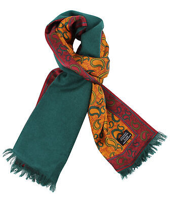 Tootal Gold Paisley Print With Green Brushed Back Silk Scarf • 25£