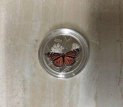 Monarch Butterfly - 2005 Canada 50 Cent Sterling Silver Coin • 26.59$