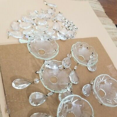 £46.02 • Buy Lot 3 Of 42 Crystal Cut Drops And Cups Chandelier Spare Parts