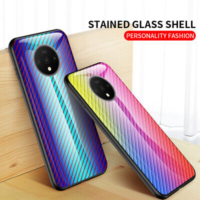 AU5.55 • Buy For OnePlus 7T 7 Pro 6T 6 5T 5 Carbon Fiber Texture Tempered Glass Case Cover