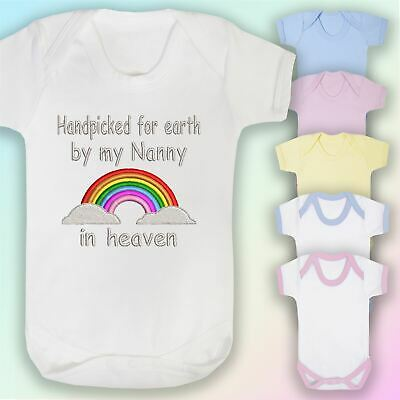 Handpicked Nanny In Heaven Embroidered Baby Vest Gift Rainbow Unisex • 6.75£