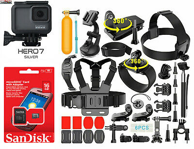 $ CDN285.46 • Buy GoPro HERO 7 Silver Edition Touch-Screen Camera + 40 PCS Sports Accessory Bundle
